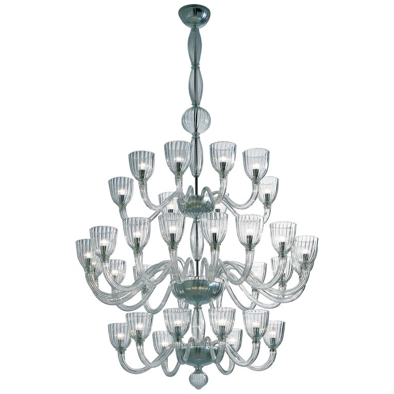 Venini Martinengo Thirty-two-light Chandelier in Crystal For Sale