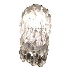 "Venini ""Mazzega"" Chandelier Murano Glass Metal Crome 1960 Italy"