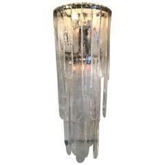 Venini Mazzega Sconces Iridescent Murano Glass Crome Metal, 1955, Italy