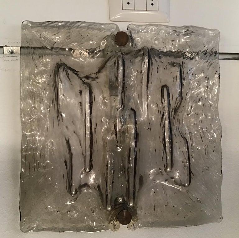 """Venini """"Mazzega"""" Sconces Murano Glass Brass Italian, 1958 For Sale 7"""