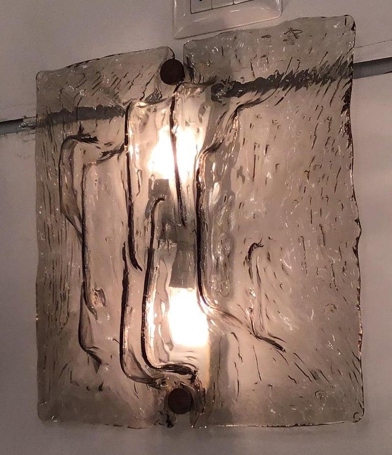 """Venini """"Mazzega"""" Sconces Murano Glass Brass Italian, 1958 For Sale 2"""