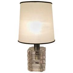 Venini Mazzega Table Lamp Murano Glass Metal Crome, 1965, Italy