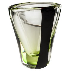 Venini Medium Black Belt Oval Glass Vase in Crystal and Green by Peter Marino