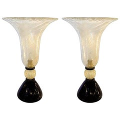 Venini Mid-Century Modern Clear Gold and Black Murano Glass Urn Pair of Lamps