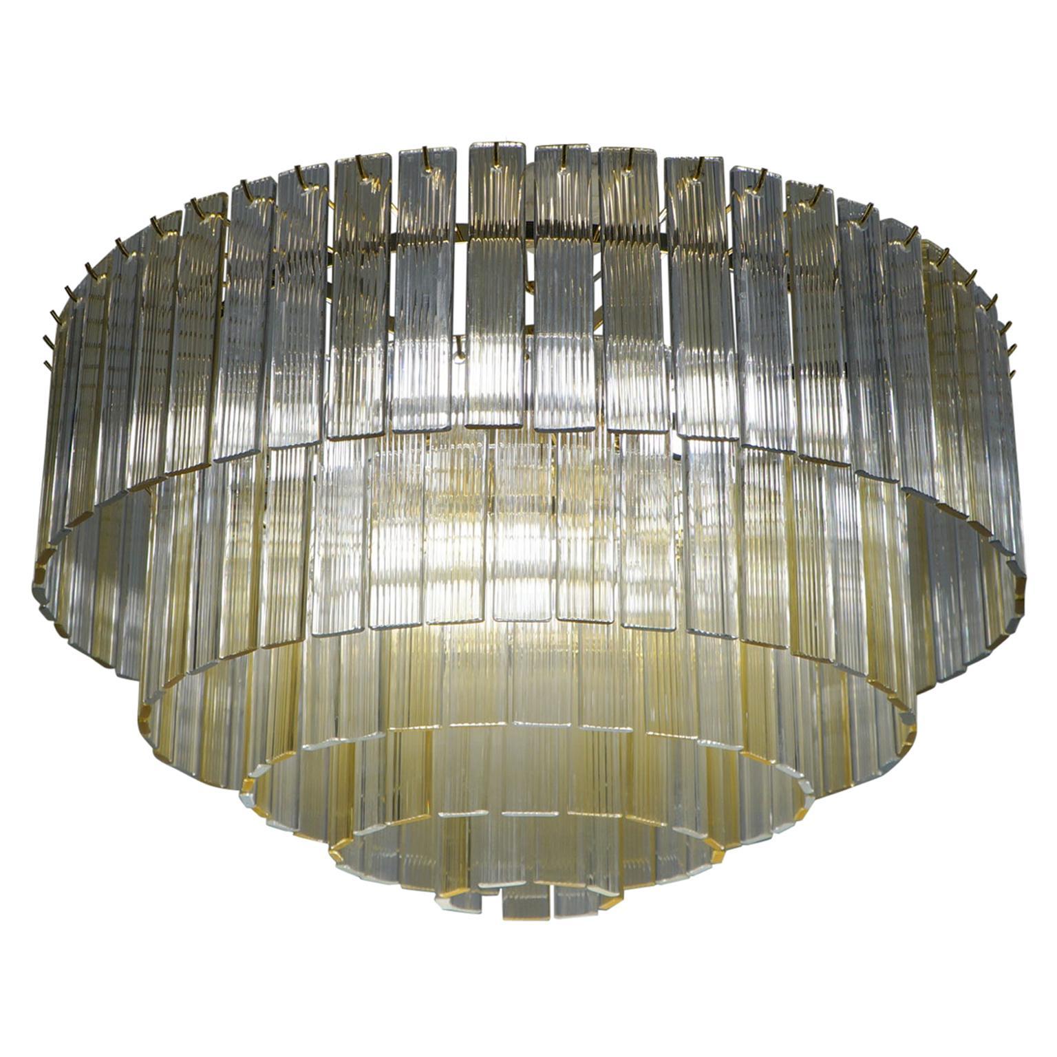 "Venini Mid-Century Modern Crystal Amber Murano Glass Chandelier ""Nastri"", 1974"