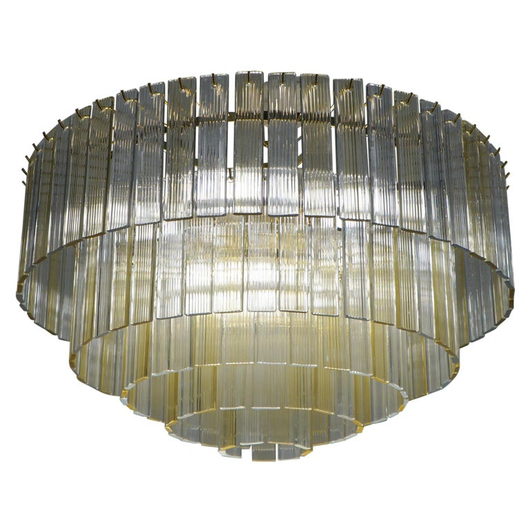 "Venini Mid-Century Modern Crystal Amber Murano Glass Chandelier ""Nastri"", 1974 For Sale"