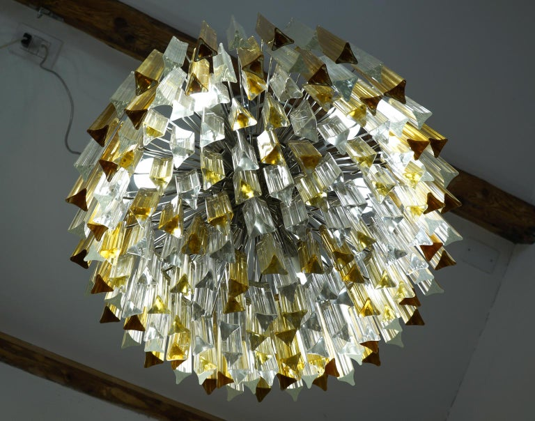 Venini Mid-Century Modern Crystal Amber Murano Glass Triedri Chandelier, 1984s For Sale 4