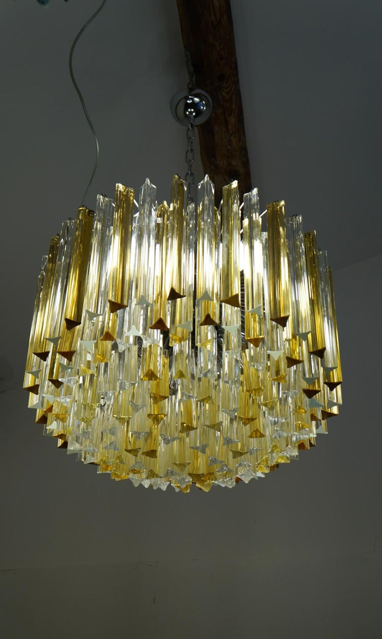 Venini Mid-Century Modern Crystal Amber Murano Glass Triedri Chandelier, 1984s For Sale 5