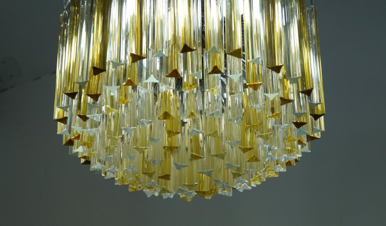 Venini Mid-Century Modern Crystal Amber Murano Glass Triedri Chandelier, 1984s For Sale 6