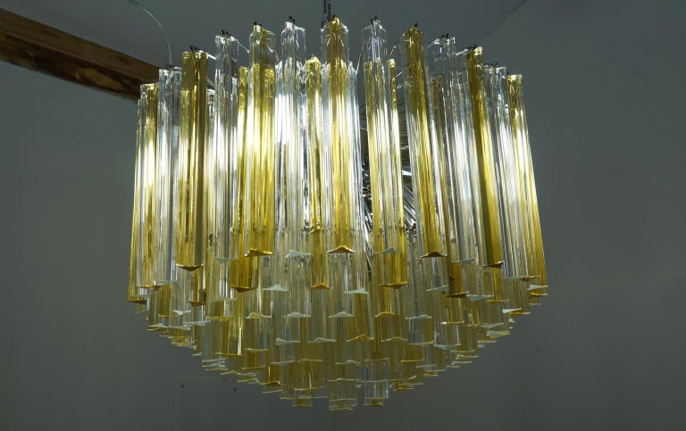 Venini Mid-Century Modern Crystal Amber Murano Glass Triedri Chandelier, 1984s For Sale 7