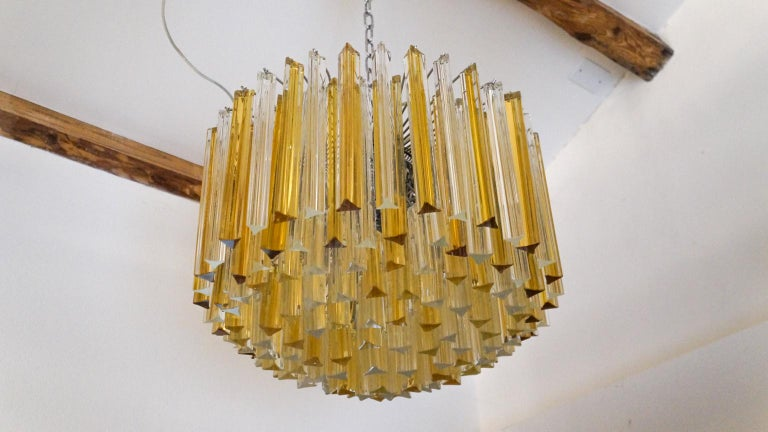 Venini Mid-Century Modern Crystal Amber Murano Glass Triedri Chandelier, 1984s For Sale 8