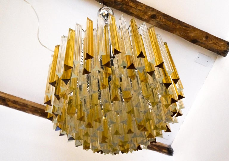 Venini Mid-Century Modern Crystal Amber Murano Glass Triedri Chandelier, 1984s For Sale 9