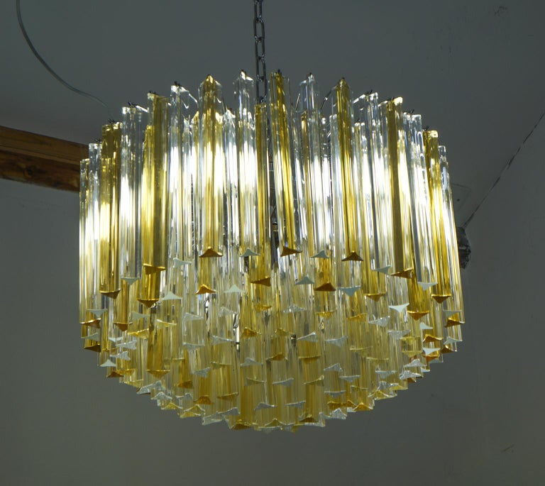 Venini Mid-Century Modern Crystal Amber Murano Glass Triedri Chandelier, 1984s For Sale 12