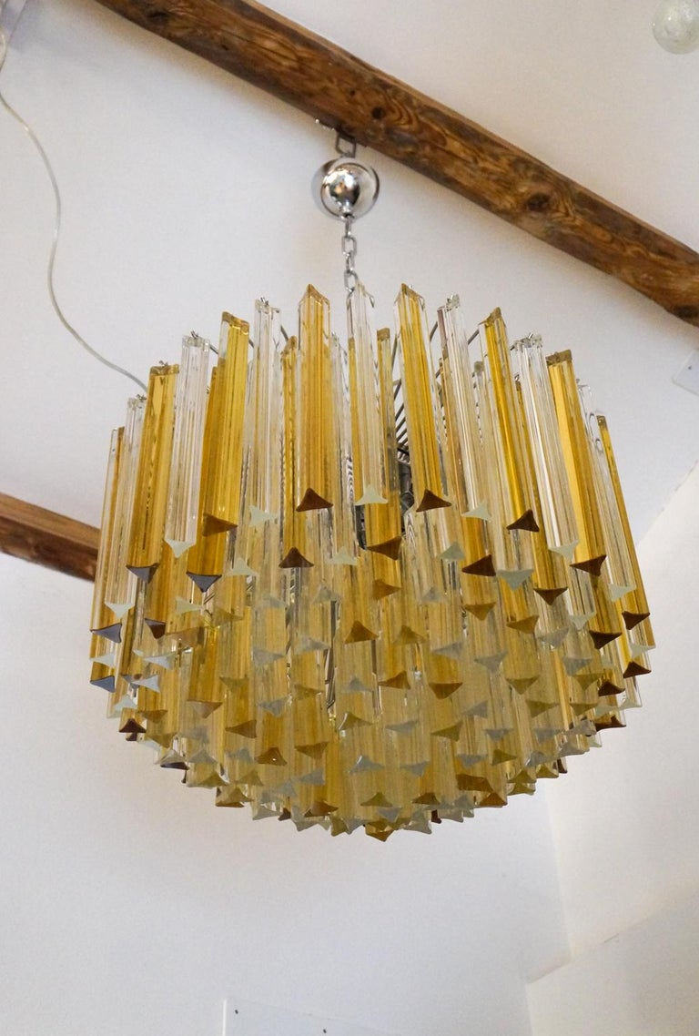 Venini Mid-Century Modern Crystal Amber Murano Glass Triedri Chandelier, 1984s For Sale 14
