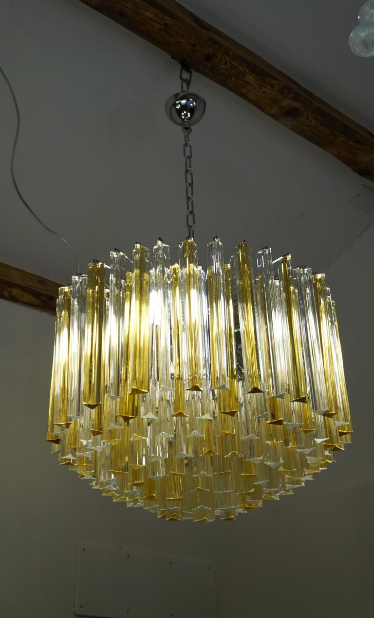 Late 20th Century Venini Mid-Century Modern Crystal Amber Murano Glass Triedri Chandelier, 1984s For Sale