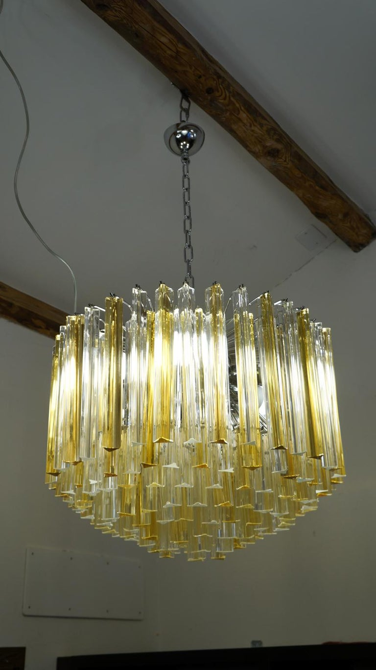 Venini Mid-Century Modern Crystal Amber Murano Glass Triedri Chandelier, 1984s For Sale 1