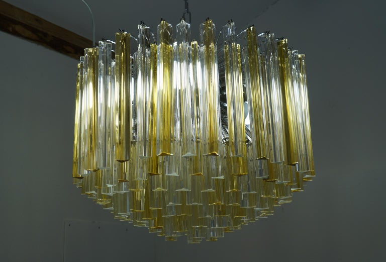 Venini Mid-Century Modern Crystal Amber Murano Glass Triedri Chandelier, 1984s For Sale 2