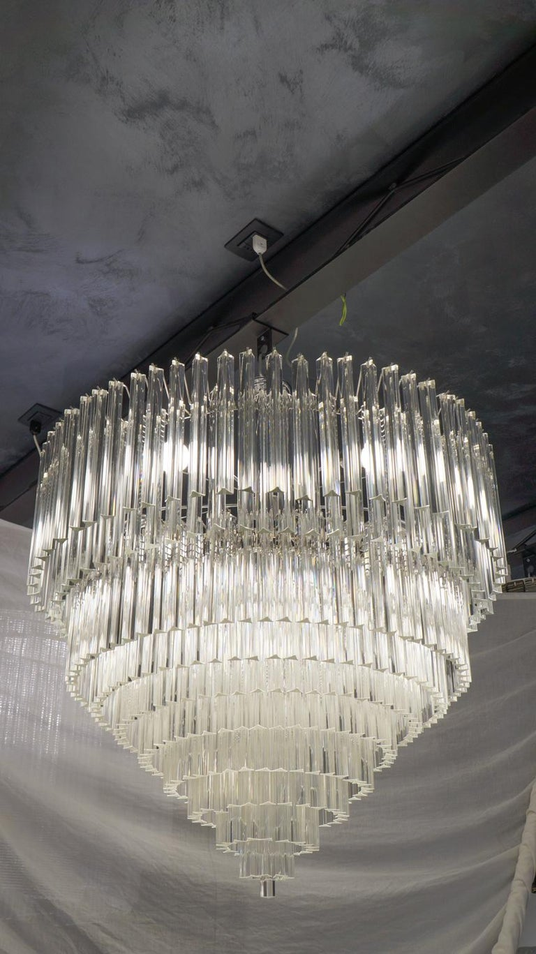 Italian Venini Mid-Century Modern Crystal Murano Glass Chandelier