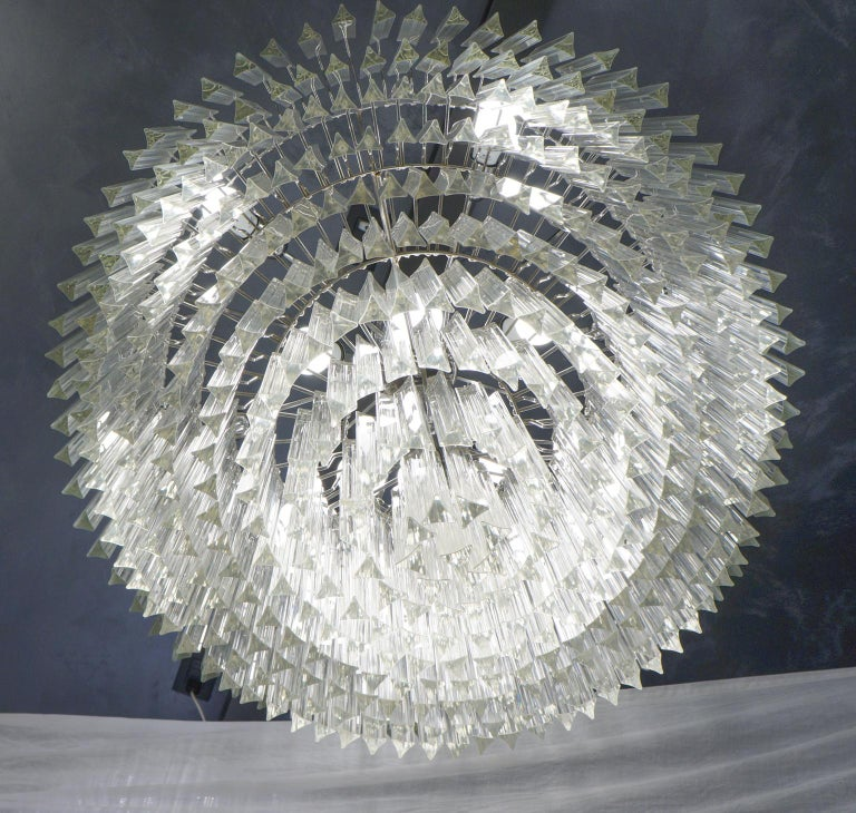 Late 20th Century Venini Mid-Century Modern Crystal Murano Glass Chandelier