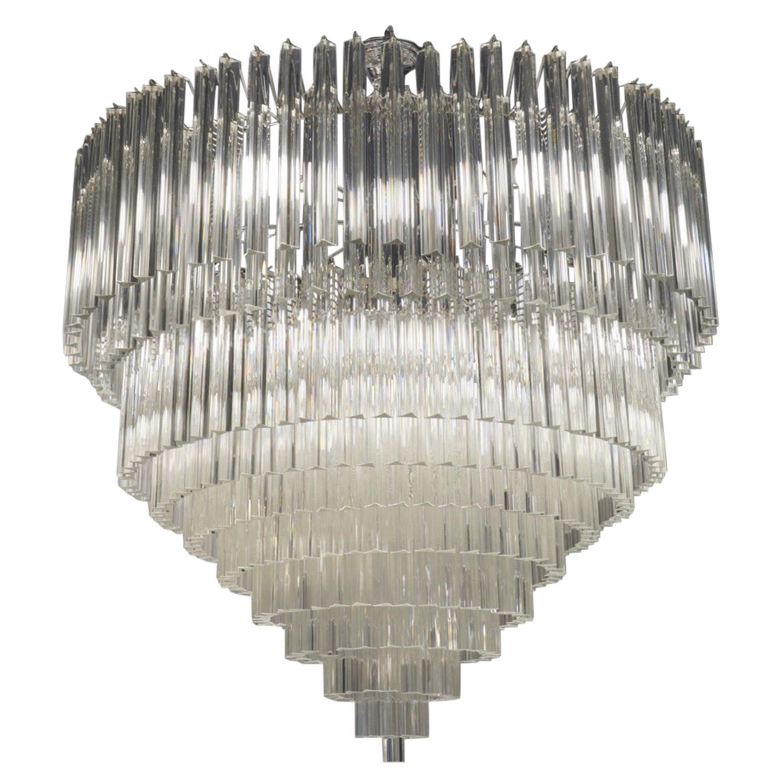 "Venini Mid-Century Modern Crystal Murano Glass Chandelier ""Triedri"", 1984s"
