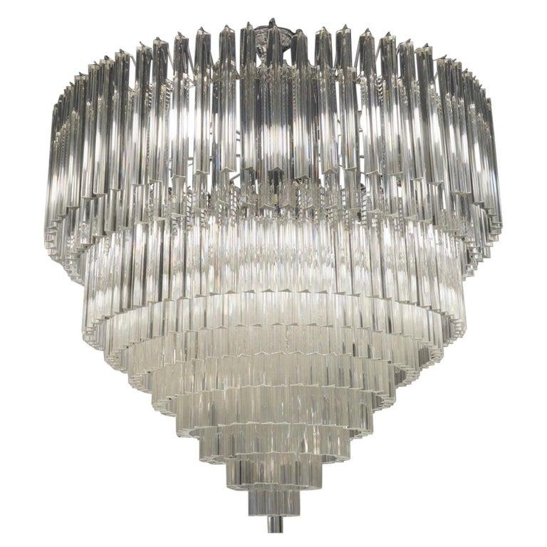 "Venini Mid-Century Modern Crystal Murano Glass Chandelier ""Triedri"", 1984s For Sale"