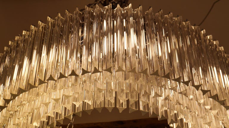 Hand-Crafted Venini Mid-Century Modern Crystal Murano Glass Chandelier