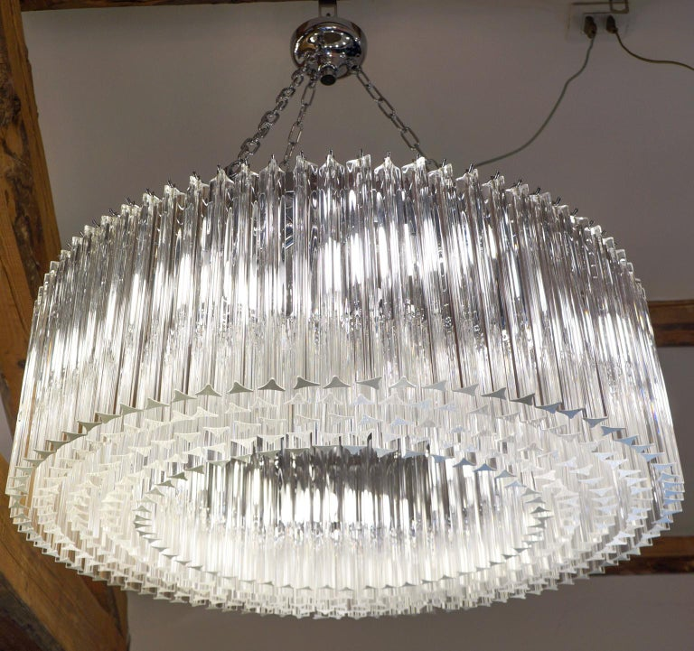 Late 20th Century Venini Mid-Century Modern Crystal Murano Glass Chandelier