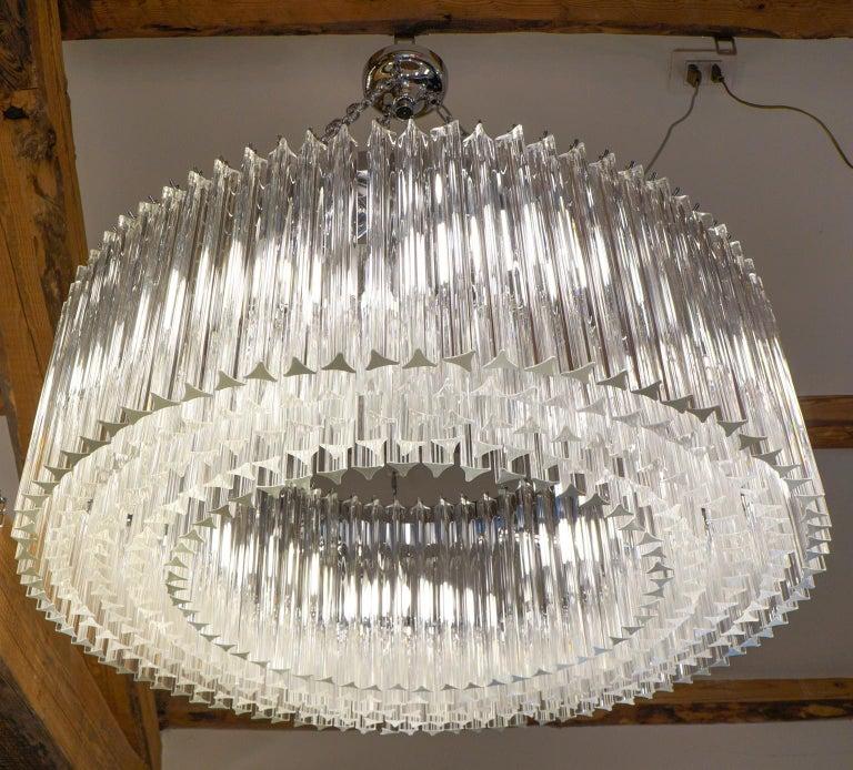 Art Glass Venini Mid-Century Modern Crystal Murano Glass Chandelier
