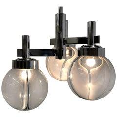 Venini Mid-Century Modern Glass and Chrome Ceiling Lamp