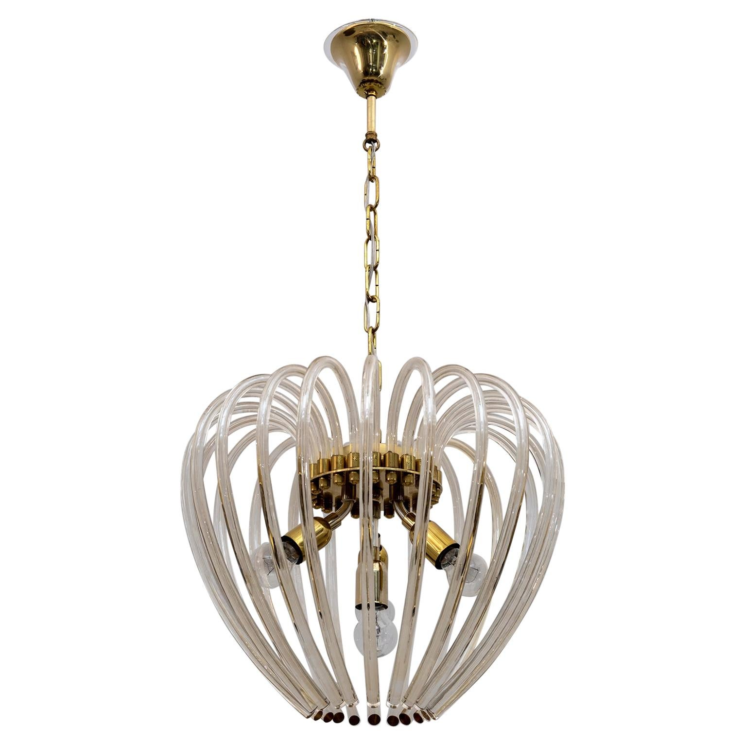 Venini Mid-Century Modern Italian Murano Glass and Brass Chandelier, 1950s