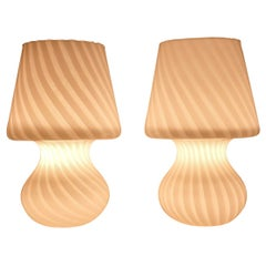 Venini Mid-Century Modern Italian Murano Glass Mushroom Table Lamps, 1970s, Pair