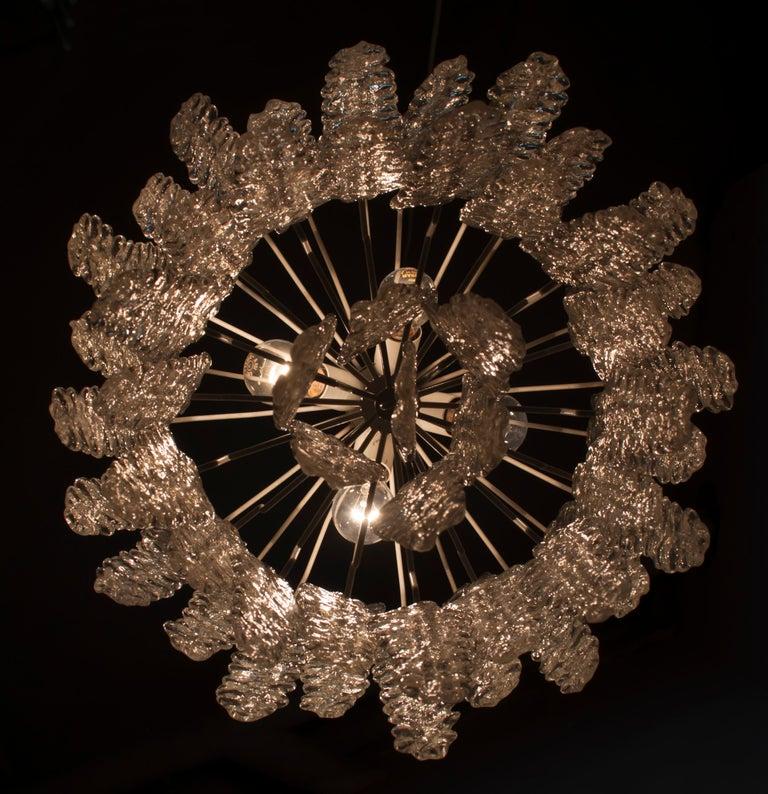 Venini Mid-Century Modern Murano Glass Italian Chandelier, 1960s For Sale 7