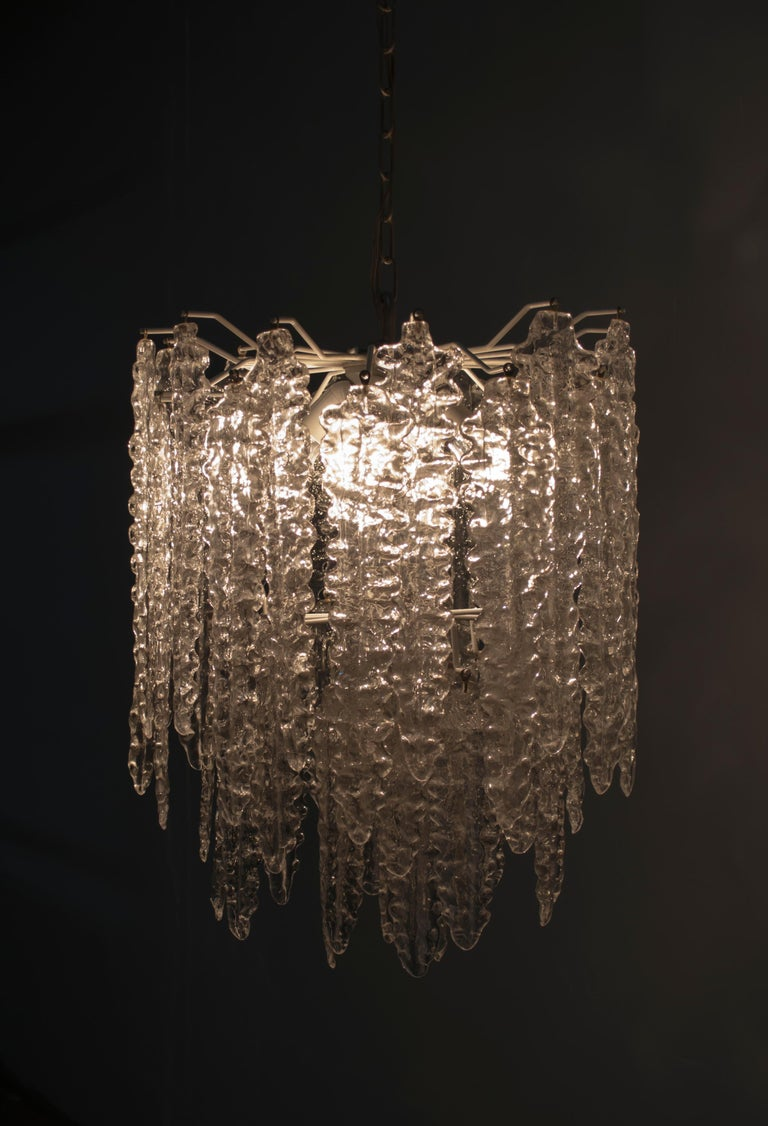 Venini Mid-Century Modern Murano Glass Italian Chandelier, 1960s For Sale 9