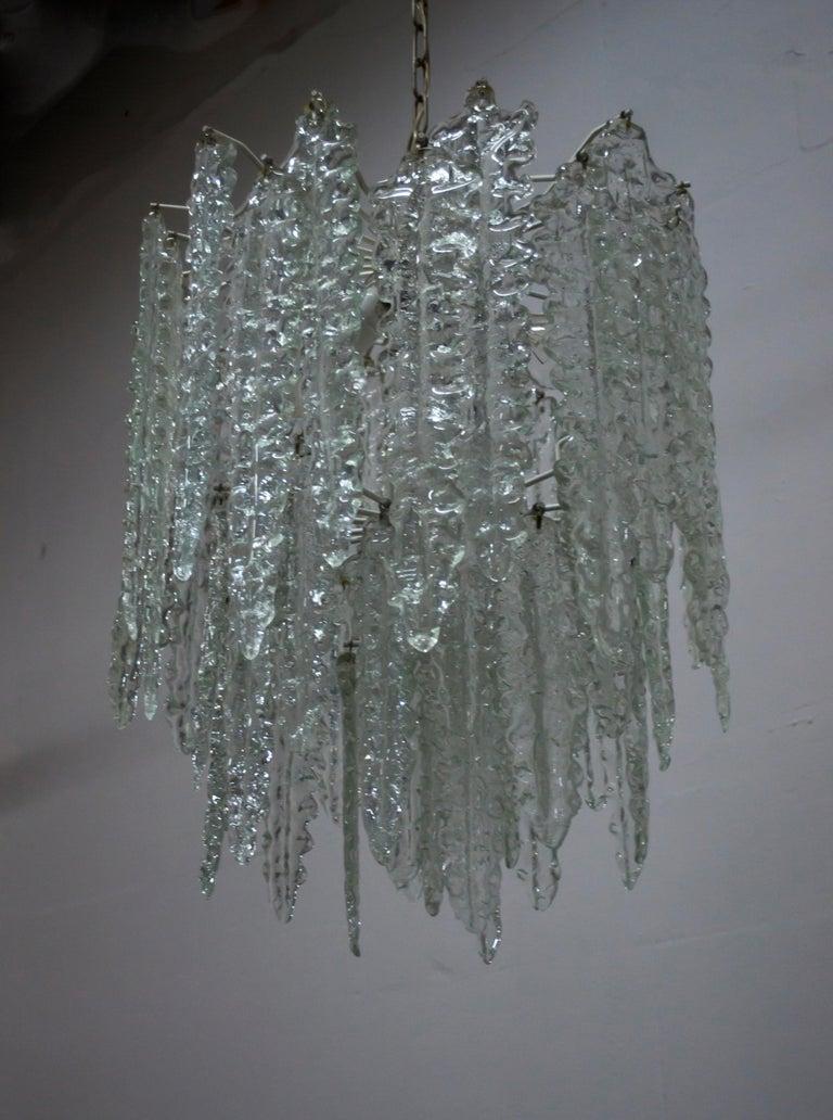 Venini Mid-Century Modern Murano Glass Italian Chandelier, 1960s In Good Condition For Sale In Cerignola, Italy Puglia