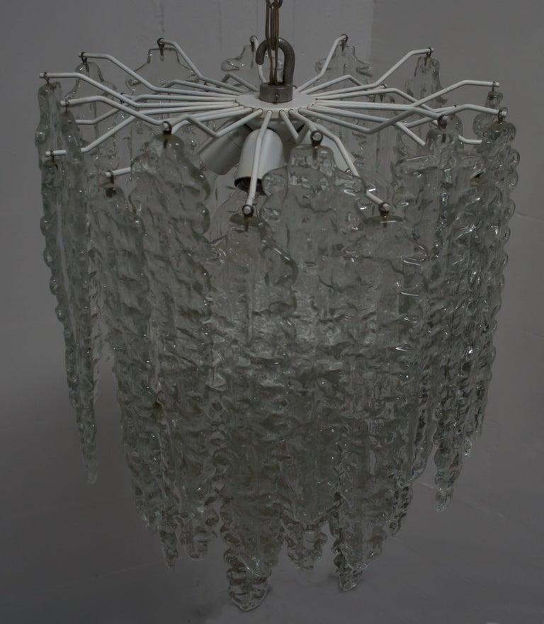 Mid-20th Century Venini Mid-Century Modern Murano Glass Italian Chandelier, 1960s For Sale