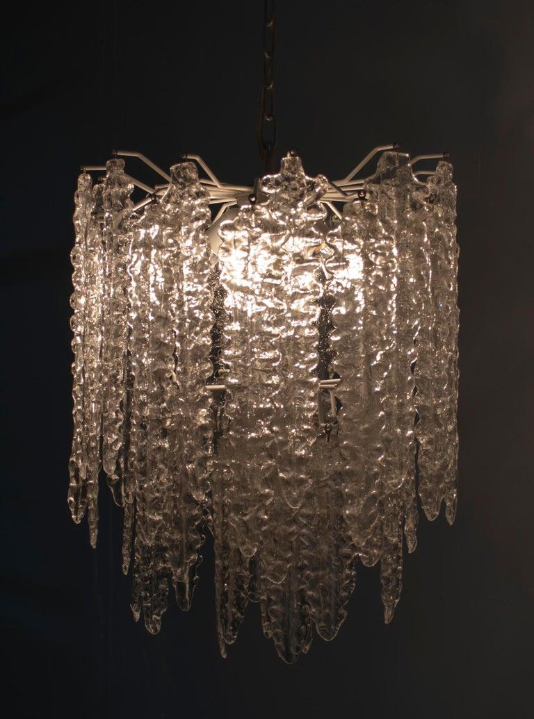 Venini Mid-Century Modern Murano Glass Italian Chandelier, 1960s For Sale 1