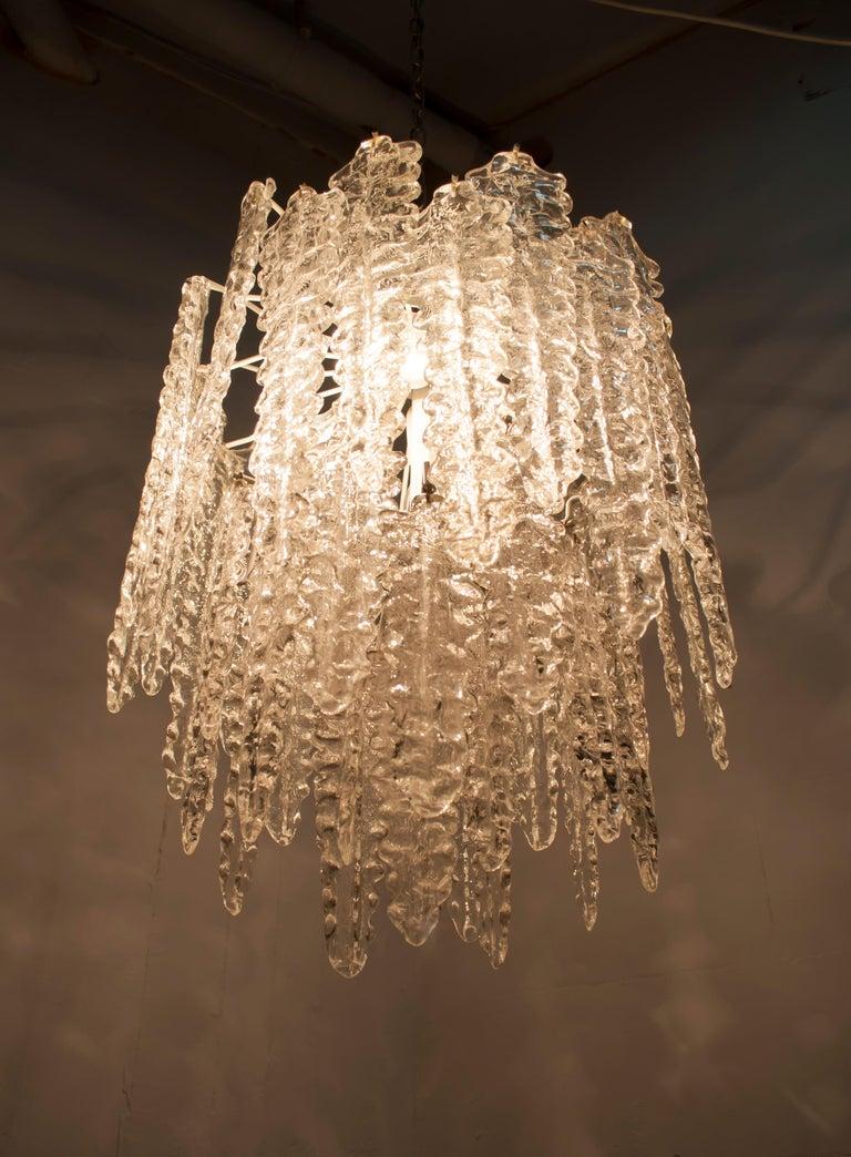 Venini Mid-Century Modern Murano Glass Italian Chandelier, 1960s For Sale 3