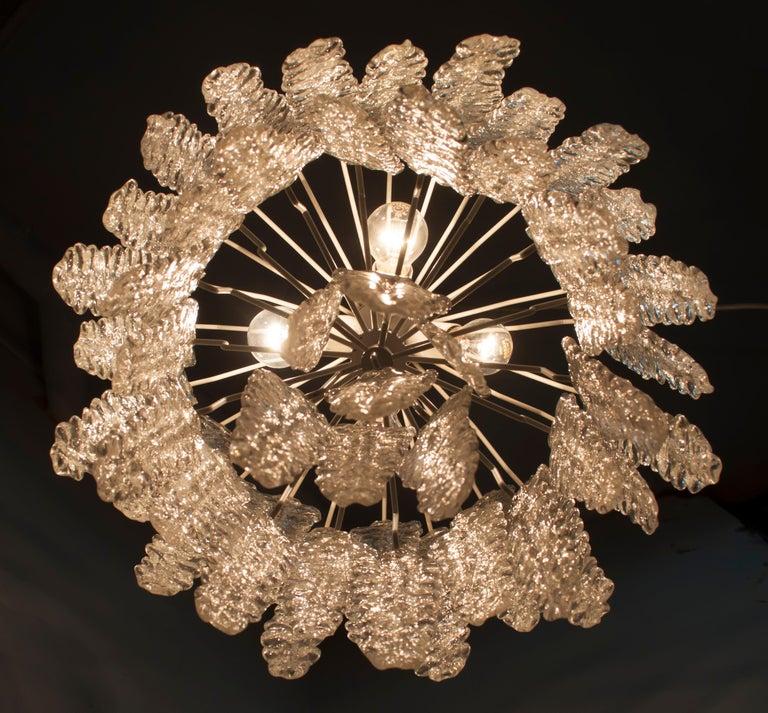 Venini Mid-Century Modern Murano Glass Italian Chandelier, 1960s For Sale 5