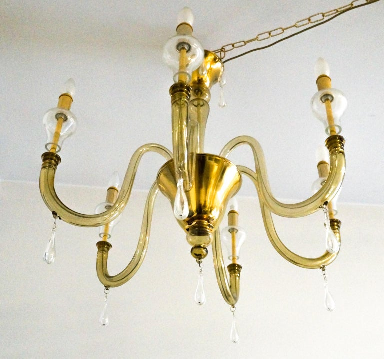 Hand-Crafted Venini Mid-Century Modern Smoked Crystal Murano Glass Chandelier, 1970 For Sale