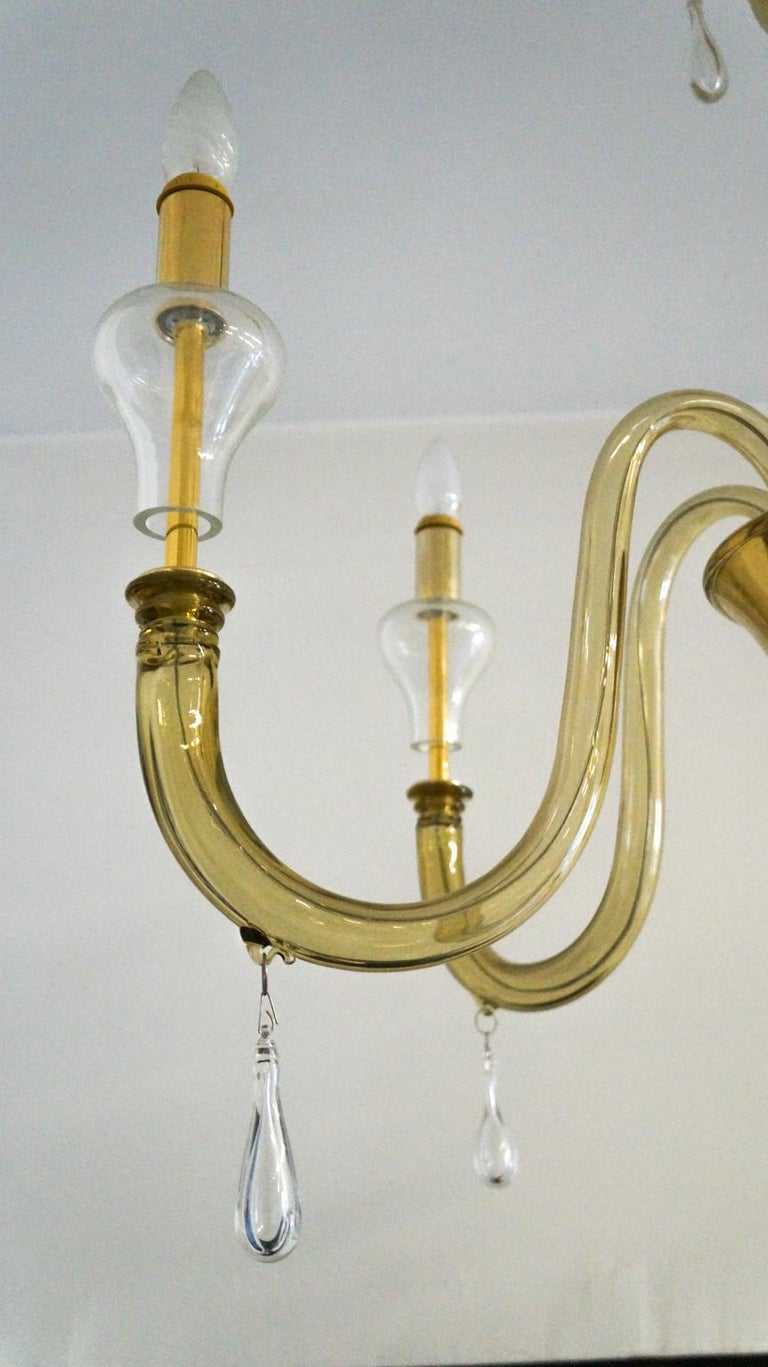 Late 20th Century Venini Mid-Century Modern Smoked Crystal Murano Glass Chandelier, 1970 For Sale