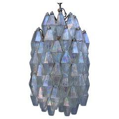 Venini Midcentury Murano Iridescent Chandelier Round Poliedri Italian Design