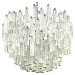 Venini Midcentury Triedri Glass Prism Chandelier