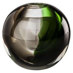 Venini Milano Globe Glass Vase in Green and Gray