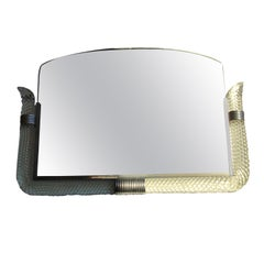 Venini Mirror 1940 Murano Glass Metal Crome, Italy