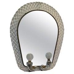 Venini Mirror Murano Glass Brass, 1940, Italy