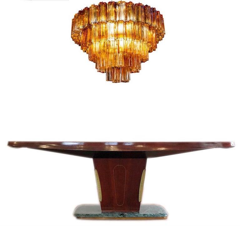 Venini Modern Gold Amber Color Murano Glass Chandelier or Flushmount, 1970 For Sale 3