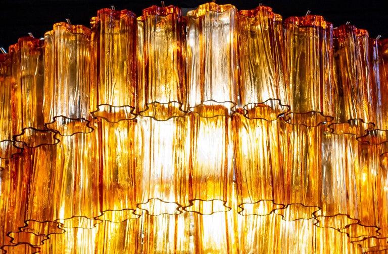 Mid-Century Modern Venini Modern Gold Amber Color Murano Glass Chandelier or Flushmount, 1970 For Sale