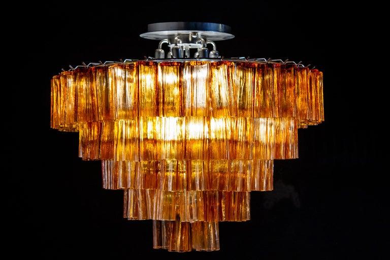Italian Venini Modern Gold Amber Color Murano Glass Chandelier or Flushmount, 1970 For Sale