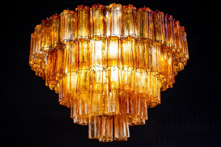Venini Modern Gold Amber Color Murano Glass Chandelier or Flushmount, 1970 In Excellent Condition For Sale In Rome, IT