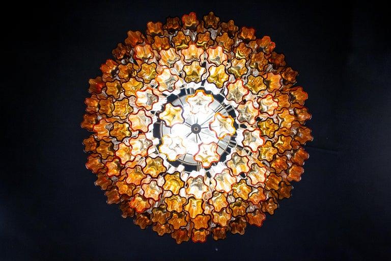 20th Century Venini Modern Gold Amber Color Murano Glass Chandelier or Flushmount, 1970 For Sale